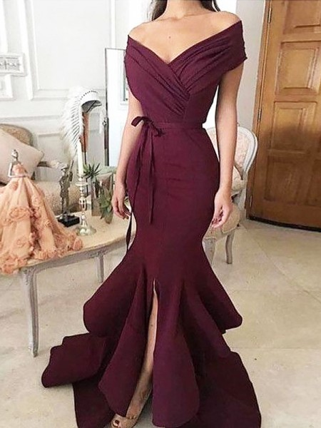 Trumpet/Mermaid Off-the-Shoulder Satin Sleeveless Ruched Floor-Length Dresses