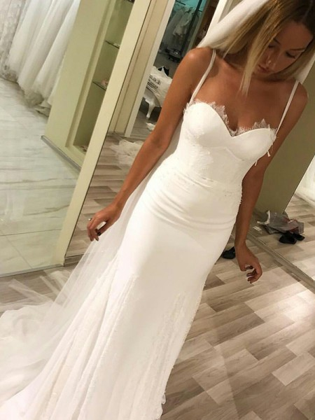 Sheath/Column Sweetheart Sleeveless Sweep/Brush Train Satin Wedding Dresses