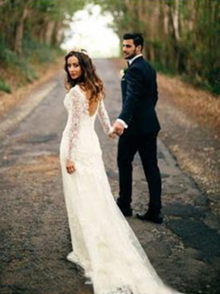 Sheath/Column V-neck Long Sleeves Court Train Lace Applique Wedding Dresses