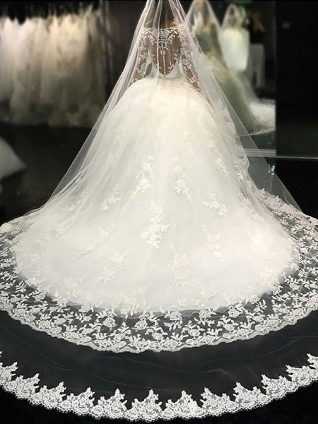 Ball Gown Scoop Long Sleeves Cathedral Train Tulle Wedding Dresses