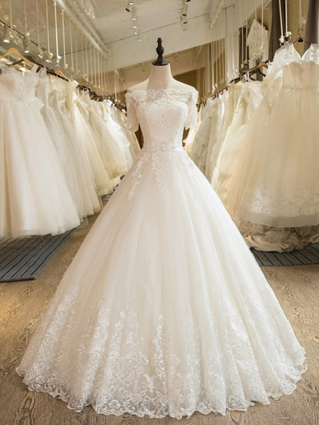 Ball Gown Off-the-Shoulder 1/2 Sleeves Floor-Length Tulle Applique Wedding Dresses
