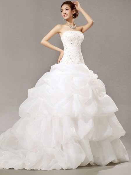 Ball Gown Strapless Sleeveless Cathedral Train Organza Beading Wedding Dresses