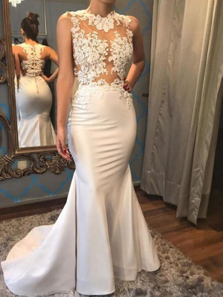 Trumpet/Mermaid Scoop Sleeveless Court Train Satin Applique Wedding Dresses