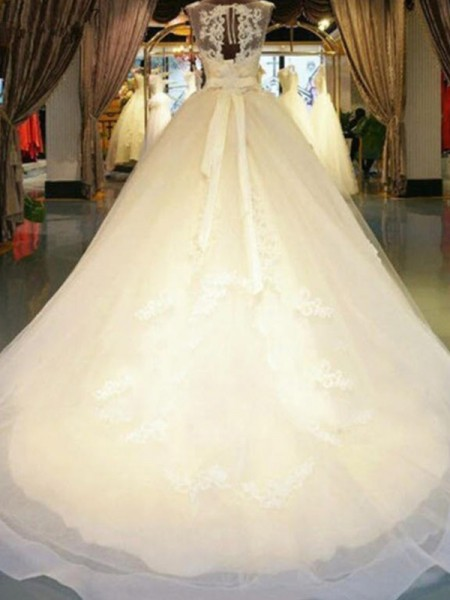 Ball Gown Off-the-Shoulder Sleeveless Sweep/Brush Train Lace Beading Wedding Dresses