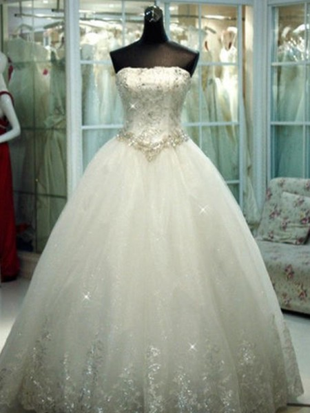 Ball Gown Strapless Sleeveless Floor-Length Tulle Beading Wedding Dresses