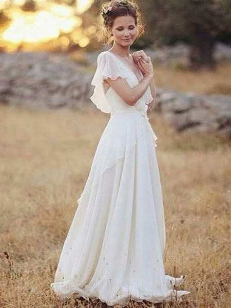 A-Line/Princess V-neck Short Sleeves Floor-Length Chiffon Ruched Wedding Dresses
