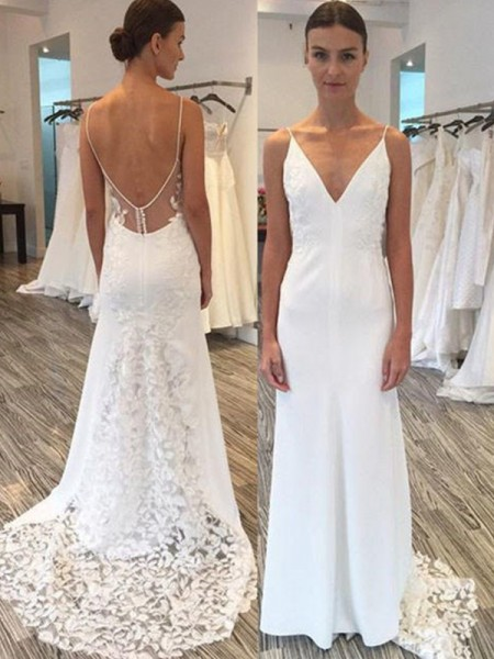 Sheath/Column Spaghetti Straps Sleeveless Sweep/Brush Train Satin Wedding Dresses