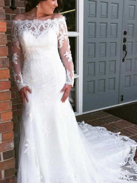Trumpet/Mermaid Off-the-Shoulder Long Sleeves Cathedral Train Tulle Applique Wedding Dresses