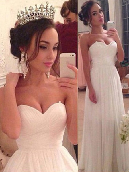 A-Line/Princess Sweetheart Sleeveless Floor-Length Chiffon Ruffles Wedding Dresses