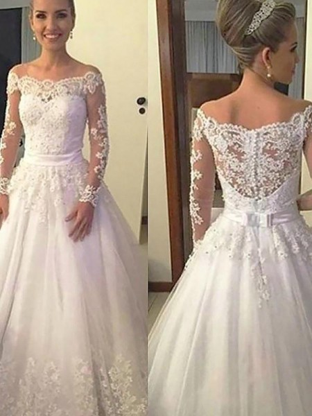 Ball Gown Off-the-Shoulder Long Sleeves Court Train Tulle Applique Wedding Dresses
