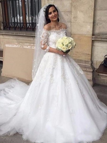 Ball Gown Off-the-Shoulder 3/4 Sleeves Chapel Train Tulle Applique Wedding Dresses