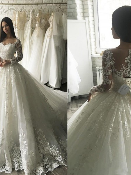 Ball Gown Scoop Long Sleeves Court Train Tulle Applique Wedding Dresses
