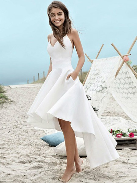 A-Line/Princess Spaghetti Straps Sleeveless Asymmetrical Satin Ruched Wedding Dresses