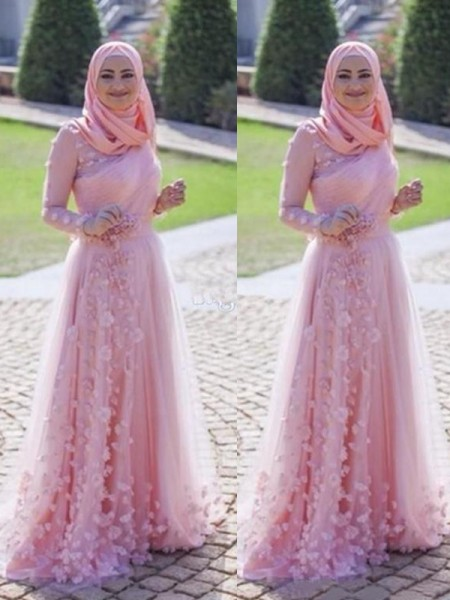 A-Line/Princess Long Sleeves Sweep/Brush Train Tulle Scoop Applique Muslim Dresses