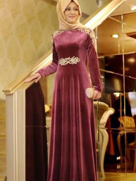 A-Line/Princess Long Sleeves Floor-Length Velvet Scoop Ruffles Muslim Dresses