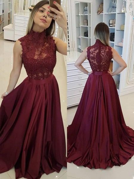 A-Line/Princess Sleeveless Sweep/Brush Train Satin High Neck Applique Dresses