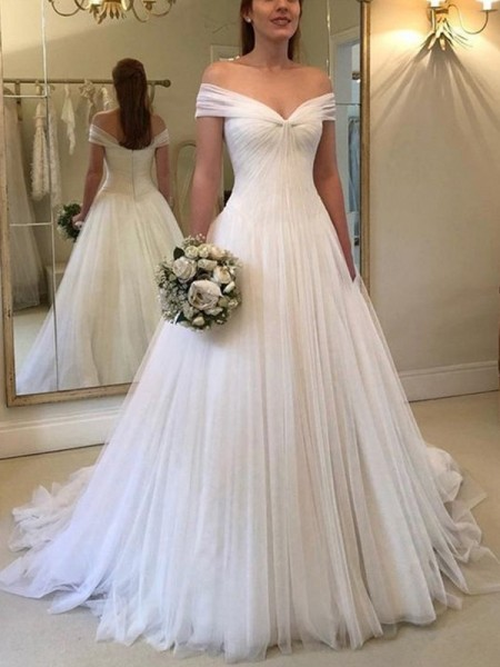 A-Line/Princess Tulle Off-the-Shoulder Sleeveless Ruched Sweep/Brush Train Wedding Dresses