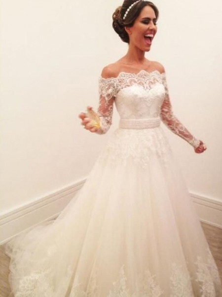 A-Line/Princess Tulle Off-the-Shoulder Long Sleeves Sweep/Brush Train Wedding Dresses
