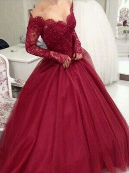 Ball Gown Tulle V-neck Long Sleeves Floor-Length Dresses