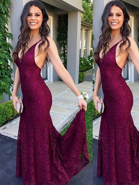 Trumpet/Mermaid Sleeveless V-neck Lace Sweep/Brush Train Dresses