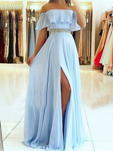 A-Line/Princess Sleeveless Off-the-Shoulder Chiffon Floor-Length Beading Dresses