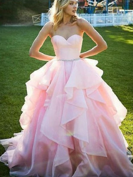 Ball Gown Sleeveless Sweetheart Organza Floor-Length Beading Dresses