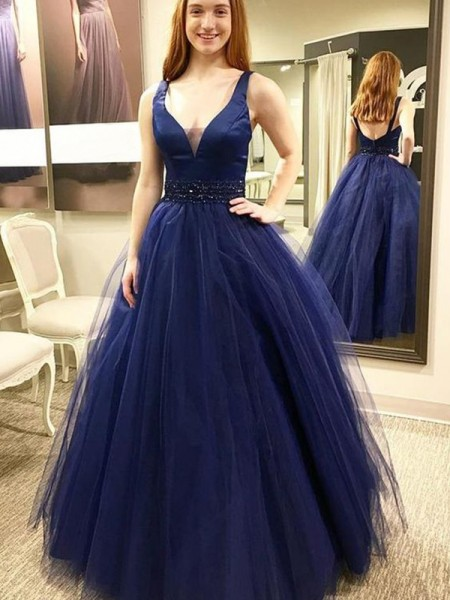 Ball Gown Sleeveless V-neck Tulle Floor-Length Beading Dresses