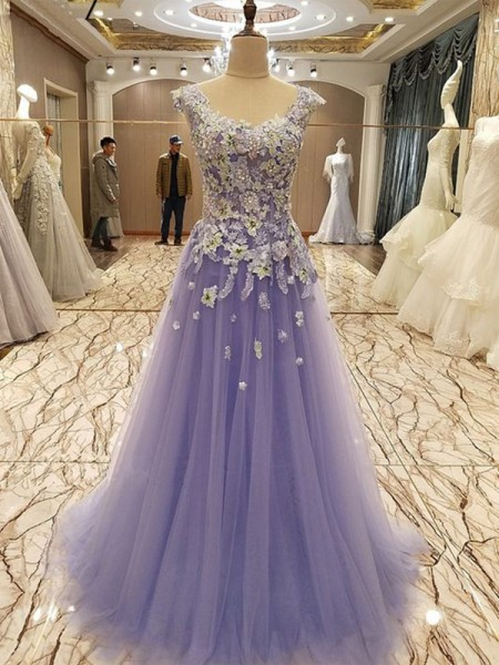 A-Line/Princess Sleeveless Scoop Tulle Floor-Length Applique Dresses