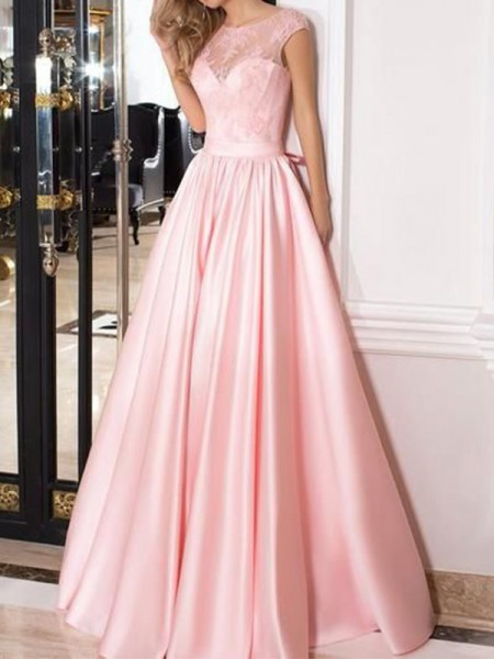 A-Line/Princess Sleeveless Sheer Neck Satin Floor-Length Dresses
