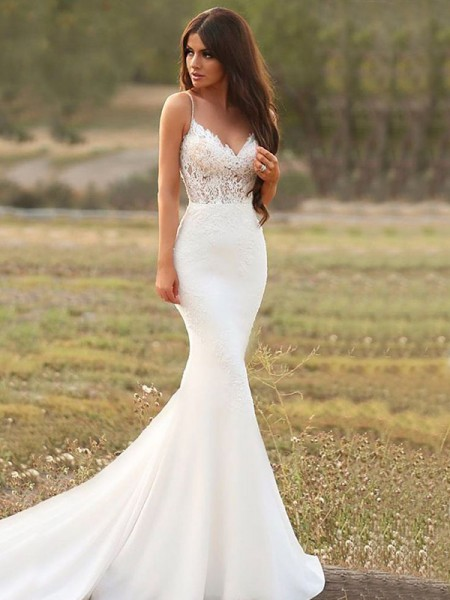 Trumpet/Mermaid Sleeveless Spaghetti Straps Satin Sweep/Brush Train Applique Wedding Dresses