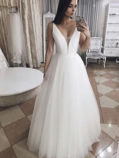 A-Line/Princess Sleeveless V-neck Tulle Floor-Length Ruffles Wedding Dresses