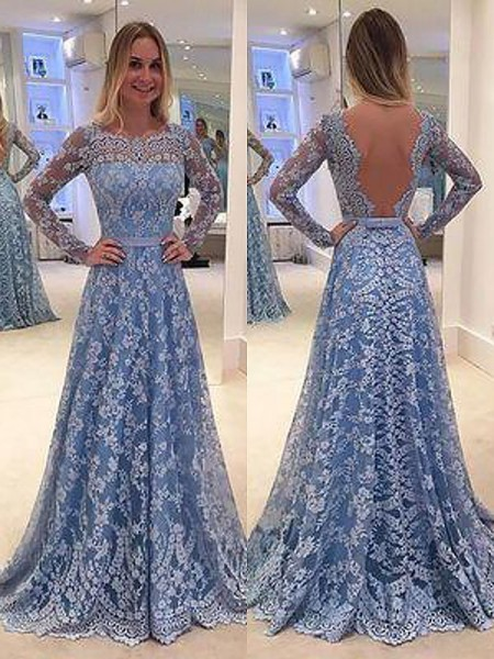 A-Line/Princess Bateau Lace Long Sleeves Ruffles Floor-Length Dresses