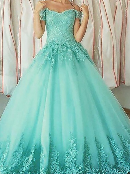 Ball Gown Off-the-Shoulder Tulle Sleeveless Applique Floor-Length Dresses
