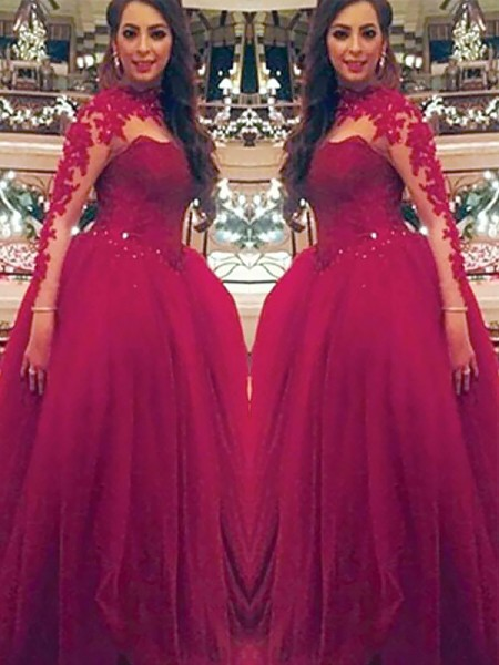 Ball Gown High Neck Tulle Long Sleeves Applique Floor-Length Dresses