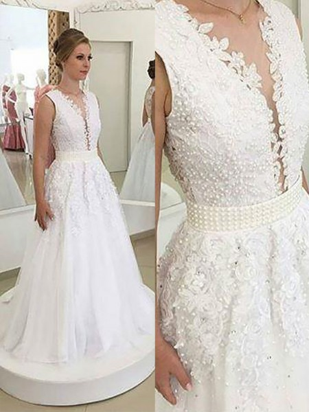 A-Line/Princess Sleeveless V-neck Tulle Sweep/Brush Train Applique Wedding Dresses