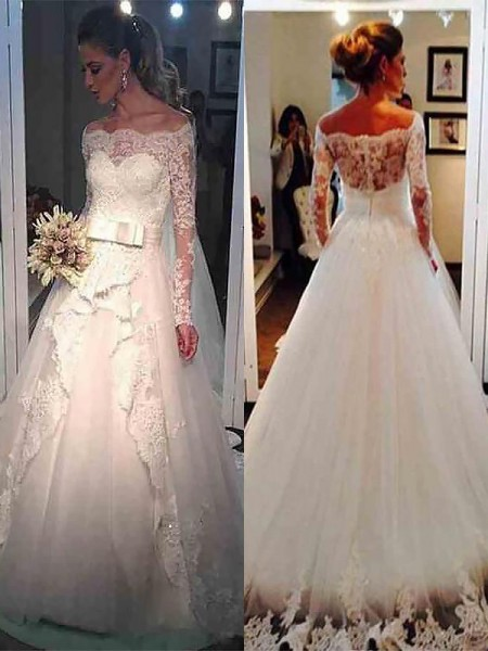 Ball Gown Long Sleeves Off-the-Shoulder Tulle Sweep/Brush Train Wedding Dresses