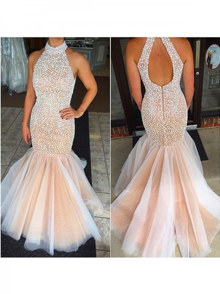 Trumpet/Mermaid Sleeveless Halter Tulle Floor-Length Beading Dresses