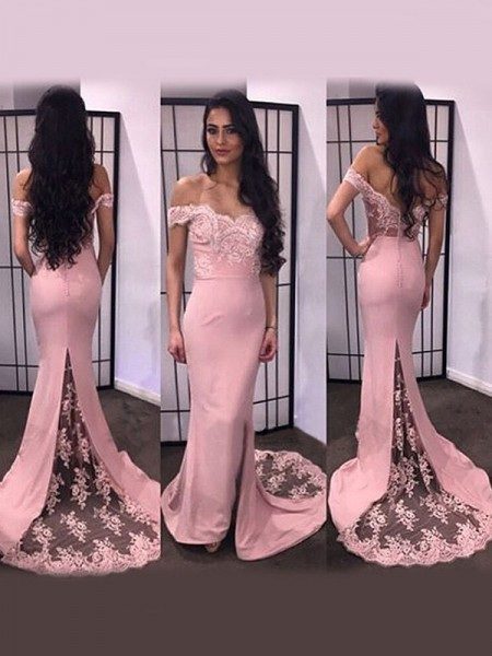 Trumpet/Mermaid Long Sleeves Off-the-Shoulder Satin Sweep/Brush Train Dresses