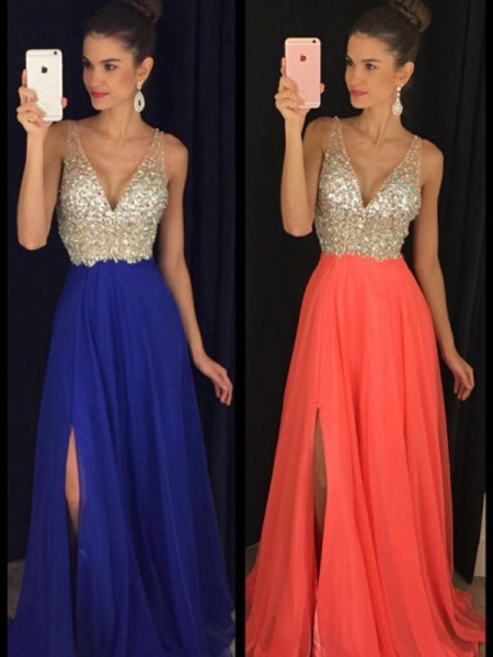 A-Line/Princess Sleeveless V-neck Chiffon Floor-Length Beading Dresses