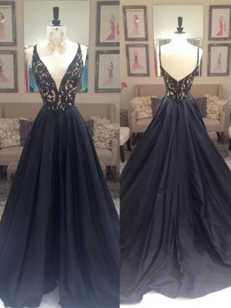 A-Line/Princess Sleeveless V-neck Taffeta Sweep/Brush Train Beading Dresses