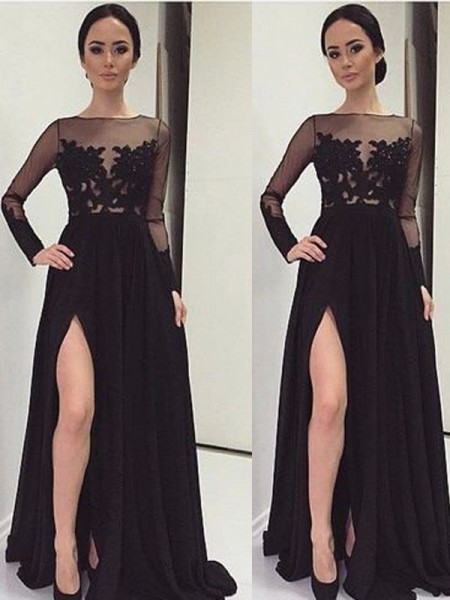 A-Line/Princess Long Sleeves Bateau Chiffon Floor-Length Dresses