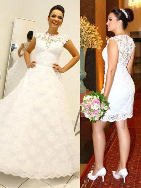 Ball Gown Sleeveless Scoop Lace Floor-Length Wedding Dresses
