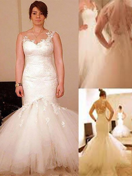 Trumpet/Mermaid Sleeveless Straps Organza Floor-Length Wedding Dresses
