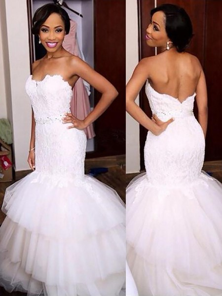 Trumpet/Mermaid Sleeveless Sweetheart Tulle Court Train Wedding Dresses