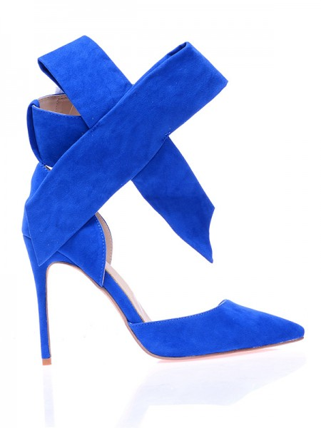 Women's Suede Closed Toe Stiletto Heel With Knot High Heels