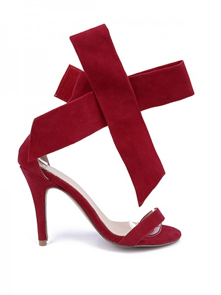 Women's Suede Peep Toe Stiletto Heel With Bowknot Party Sandal High Heels