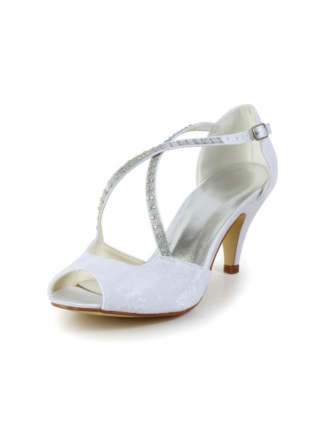 Women's Satin Cone Heel Peep Toe Sandals White Wedding Shoes With Rhinestone Buckle