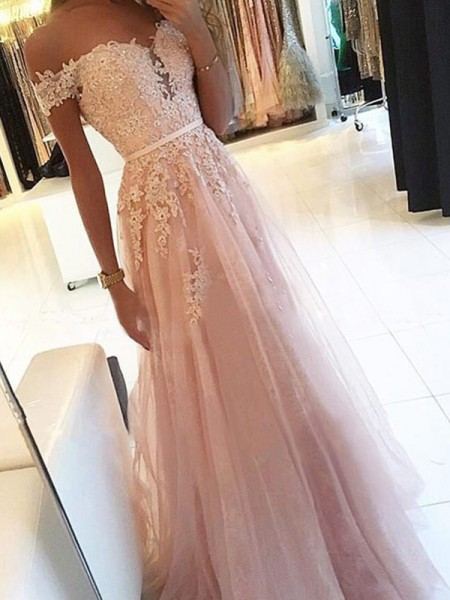 A-Line/Princess Sleeveless Applique Floor-Length Off-the-Shoulder Tulle Dresses