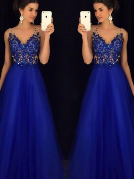 A-Line/Princess Sleeveless Applique Floor-Length V-neck Tulle Dresses