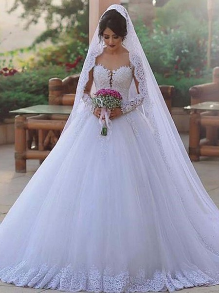 Ball Gown Long Sleeves Sweep/Brush Train Sweetheart Tulle Wedding Dresses